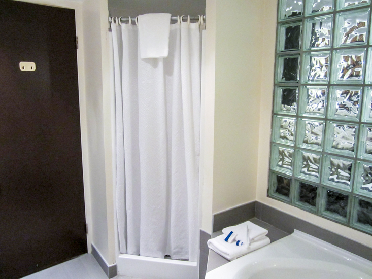 Bathroom with whirlpool and shower